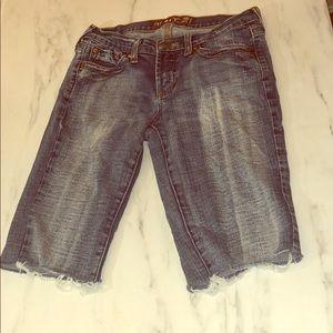 Hint Distressed Cut Off Bermuda Jean Shorts